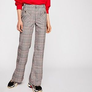 Free People Hip Hugging Flare Plaid Pants Sz 8